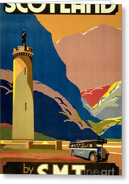 Europe Mixed Media Greeting Cards - Scotland Vintage Travel Poster Restored Greeting Card by Carsten Reisinger