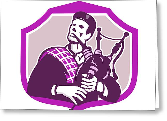 Playing Musical Instruments Greeting Cards - Scotsman Playing Bagpipes Shield Retro Greeting Card by Aloysius Patrimonio