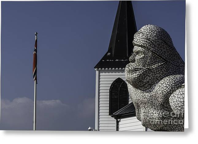 Scott Of The Antarctic Greeting Cards - Scott Memorial And Norwegian Church 2 Greeting Card by Steve Purnell