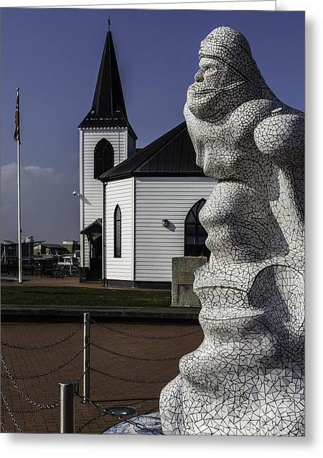 Scott Of The Antarctic Greeting Cards - Scott Memorial And Norwegian Church Greeting Card by Steve Purnell