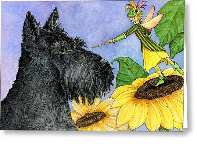 Scotty Dog Greeting Cards - Scottie And The Sunflower Fairy Greeting Card by Pamela Harden