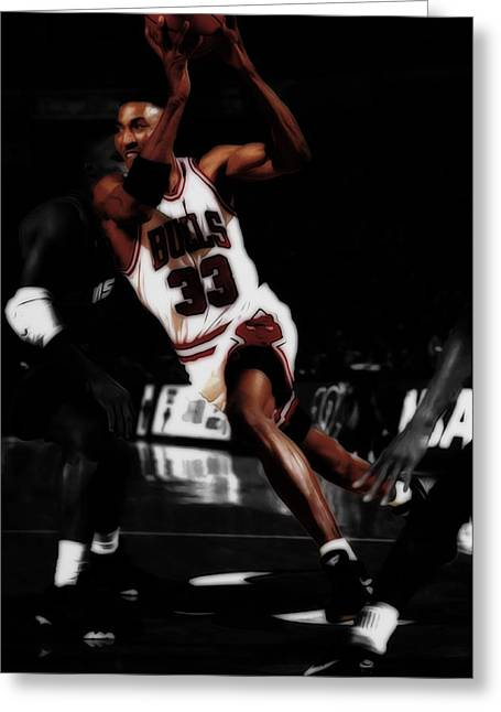 Scottie Pippen On The Move Greeting Card by Brian Reaves