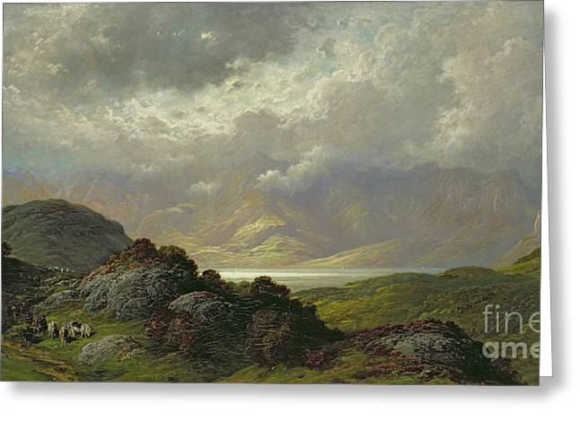 Cattle Greeting Cards - Scottish Landscape Greeting Card by Gustave Dore