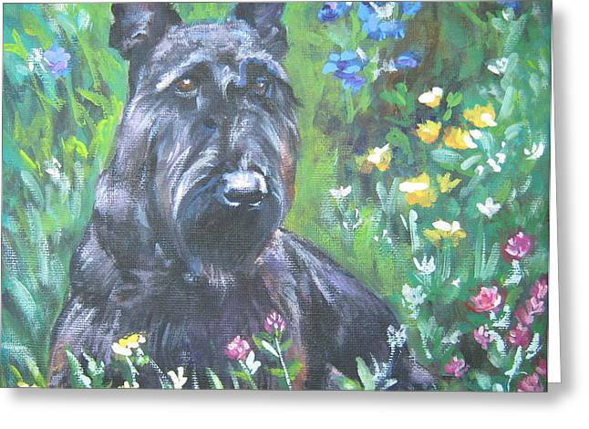 Scottish Terrier Greeting Cards - Scottish Terrier in the garden Greeting Card by Lee Ann Shepard