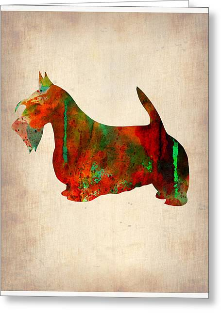 Scottish Terrier Greeting Cards - Scottish Terrier Watercolor 2 Greeting Card by Naxart Studio
