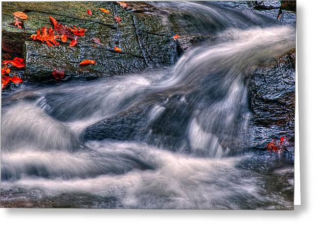Water Flowing Greeting Cards - Scotts Run Cascade Greeting Card by Steven Maxx