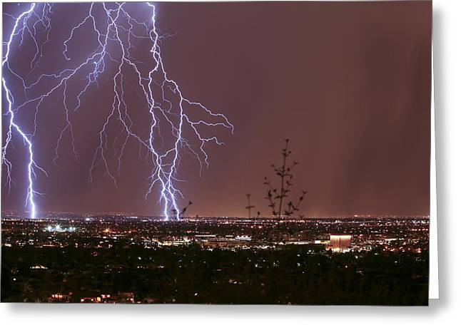 Scottsdale Lightning Greeting Cards - Scottsdale Night Life Greeting Card by Cathy Franklin