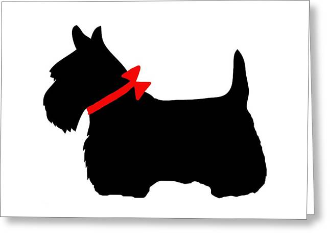 Scotty Dog With Red Bow Greeting Card by Marianna Mills