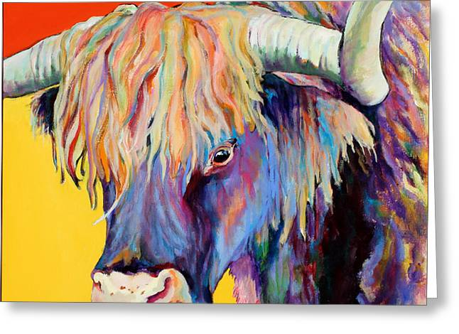 Cow Paintings Greeting Cards - Scotty Greeting Card by Pat Saunders-White