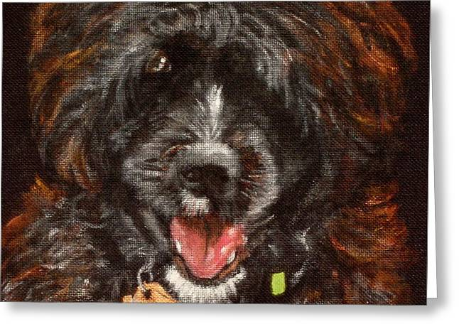 Dog Close-up Paintings Greeting Cards - Scout Greeting Card by Carol Russell