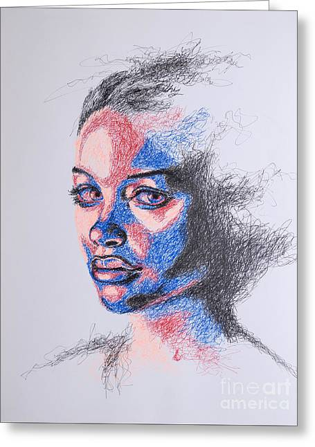 Female Portrait Greeting Cards - Scratched  Greeting Card by Fithi Abraham