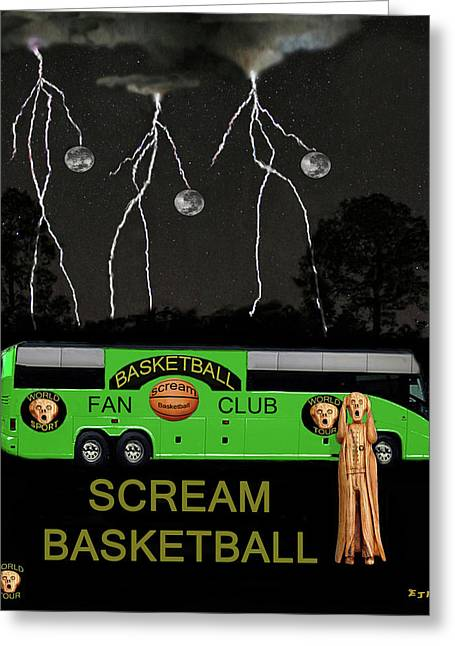 Shooting The Ball Greeting Cards - Scream Basketball Greeting Card by Eric Kempson