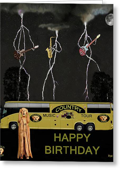 Tour Bus Mixed Media Greeting Cards - Scream Country Tour Greeting Card by Eric Kempson