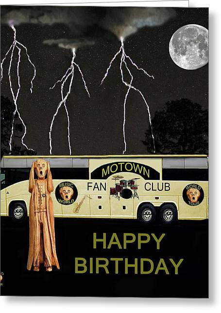 Tour Bus Mixed Media Greeting Cards - Scream Motown Tour Greeting Card by Eric Kempson