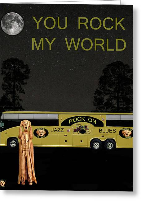 Tour Bus Mixed Media Greeting Cards - Scream Rock On Tour You Rock My World Greeting Card by Eric Kempson