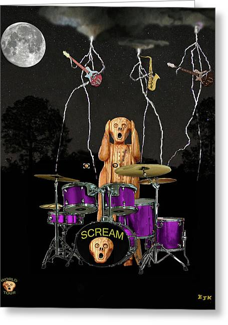 Scream World Tour Mixed Media Greeting Cards - Scream Unplugged Greeting Card by Eric Kempson
