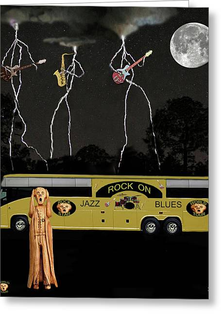 Tour Bus Mixed Media Greeting Cards - Scream Unplugged World Tour Greeting Card by Eric Kempson