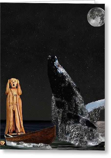 Fleeting Mixed Media Greeting Cards - Scream with Humpback Whale Greeting Card by Eric Kempson