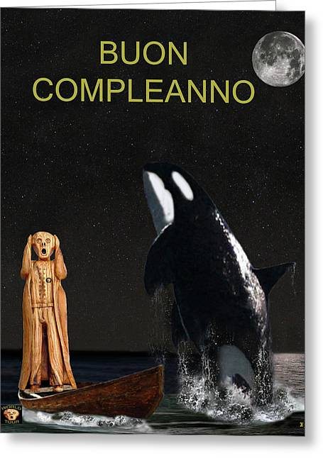Scream With Orca Italian Greeting Card by Eric Kempson