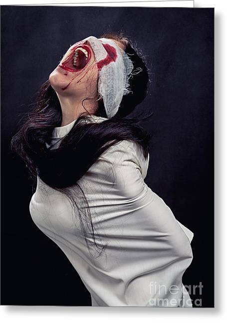 Screaming Crazy Woman Greeting Card by Aleksey Tugolukov
