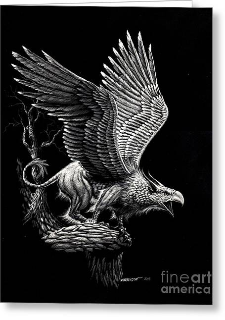 Screaming Griffon Greeting Card by Stanley Morrison