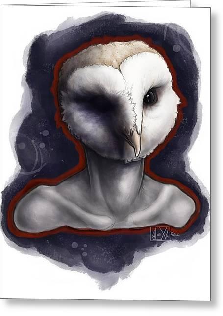 Strange Owl Greeting Cards - Screen Memory Greeting Card by Alexa-Renee