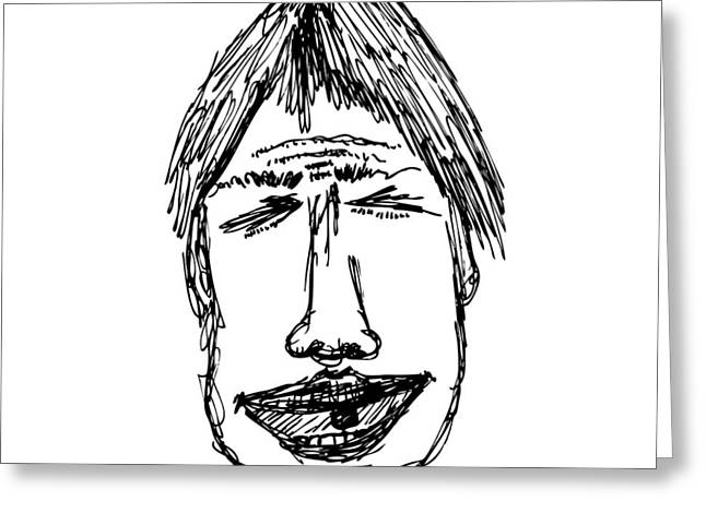 Bad Drawing Greeting Cards - Scribble Line Face Greeting Card by Karl Addison