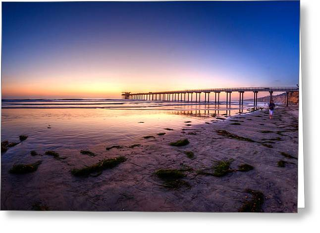Beach At Night Greeting Cards - Scripps Pier at Sunset Greeting Card by Manuela Durson