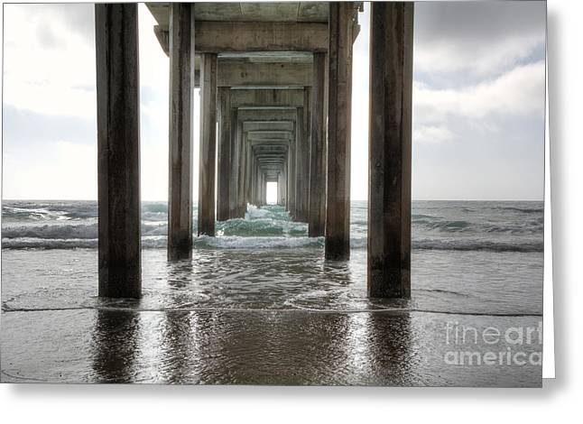 Sand Greeting Cards - Scripps Pier Greeting Card by Eddie Yerkish