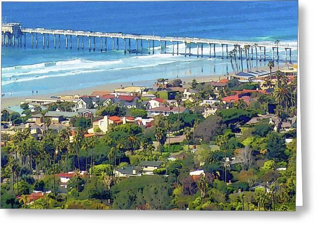 Seaside Digital Greeting Cards - Scripps Pier La Jolla California Greeting Card by Russ Harris