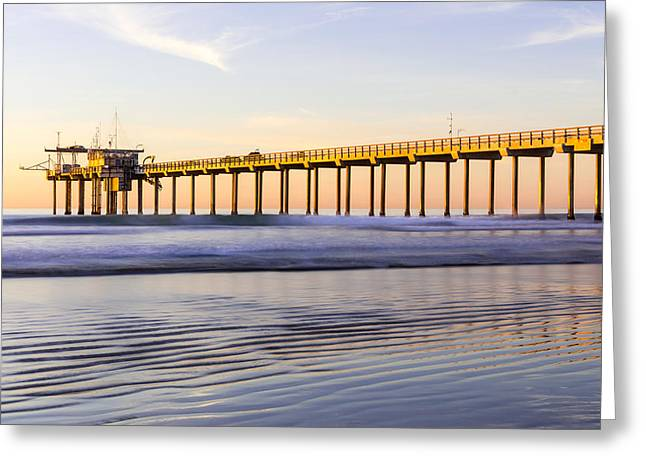 Sand Pattern Greeting Cards - Scripps Pier La Jolla - Golden Glow In Winter Greeting Card by Priya Ghose