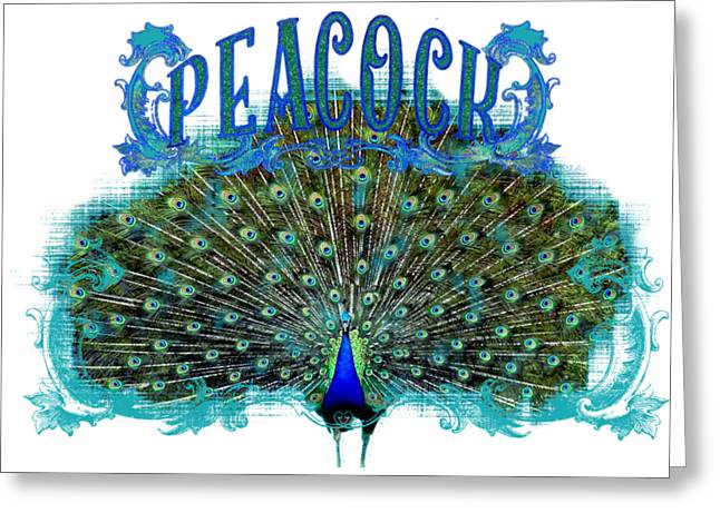 Royal Mixed Media Greeting Cards - Scroll Swirl Art Deco Nouveau Peacock w Tail Feathers Spread Greeting Card by Audrey Jeanne Roberts