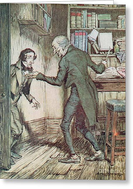 Arthur Greeting Cards - Scrooge and Bob Cratchit Greeting Card by Arthur Rackham