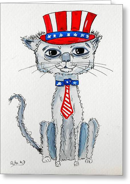 4th July Greeting Cards - Scruffy Americana Cat Greeting Card by Rita Drolet