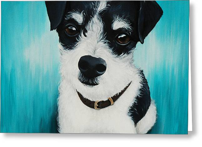 Puppies Paintings Greeting Cards - Scruffy Lil Puppy Greeting Card by Lauren Hammack