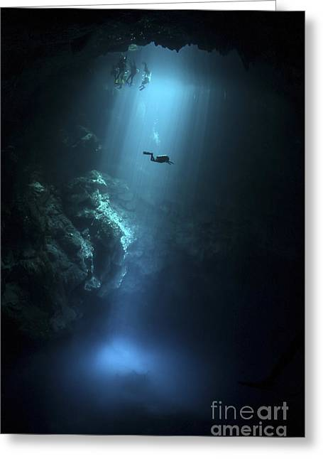 Scuba Diver Descends Into The Pit Greeting Card by Karen Doody