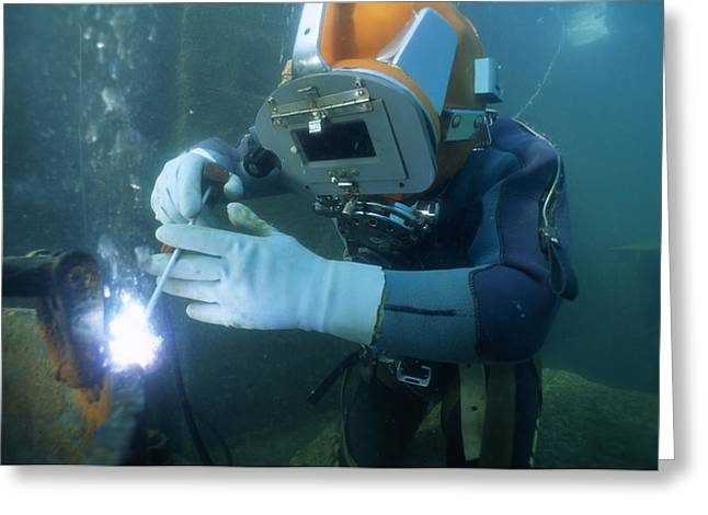 Scuba Diving Greeting Cards - Scuba Diver Welding Greeting Card by Alexis Rosenfeld