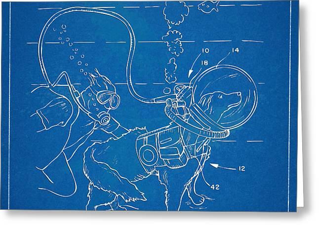 Scuba Doggie Patent Artwork 1893 Greeting Card by Nikki Marie Smith