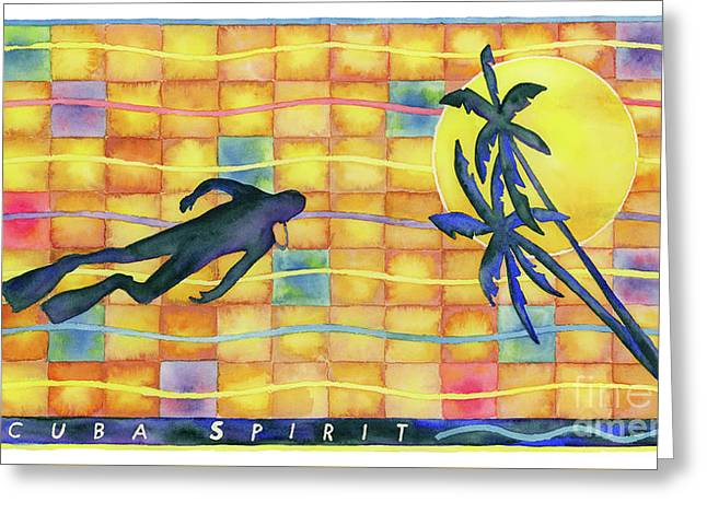 Scuba Diving Paintings Greeting Cards - Scuba Spirit Greeting Card by Amy Kirkpatrick