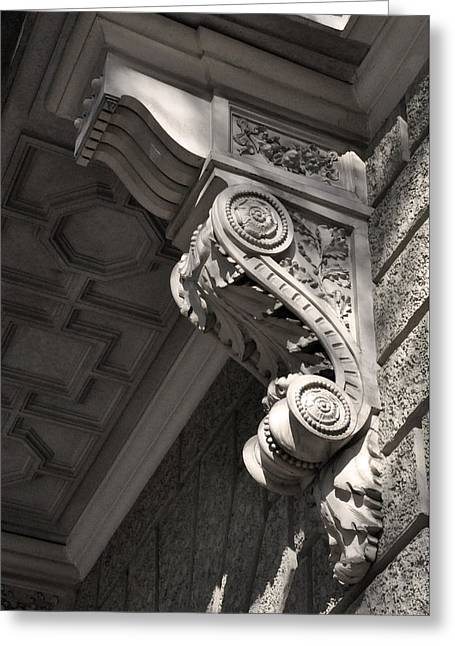 Plaster Reliefs Greeting Cards - Sculpted Balcony Bracket Budapest Greeting Card by James Dougherty
