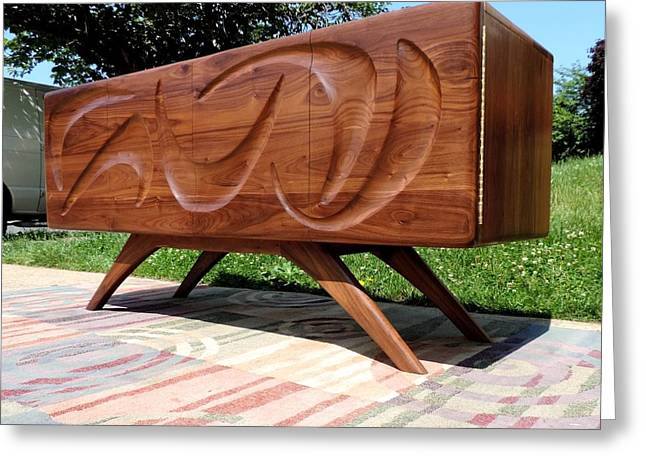 Credenza Greeting Cards - Sculpted Walnut Credenza Greeting Card by Garry Zayon