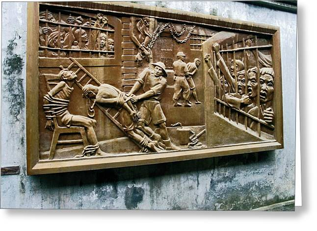 Hoa Greeting Cards - Sculpture Torture at Hoa Lo Prison Hanoi Greeting Card by Sally Weigand
