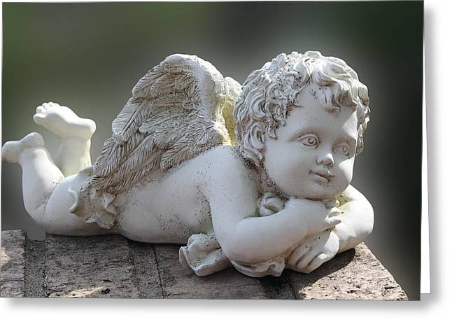 Guardian Angel Digital Greeting Cards - Sculptured Little Angel Greeting Card by Linda Phelps
