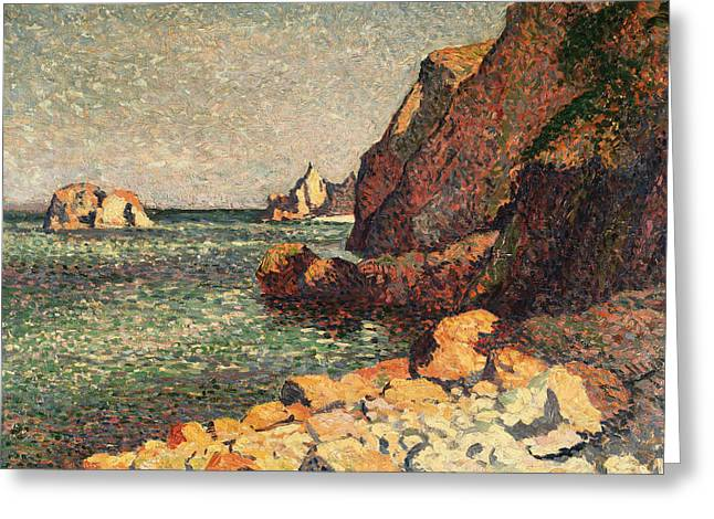 1893 Greeting Cards - Sea And Rocks at Agay Greeting Card by Maximilien Luce