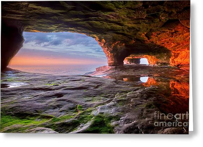 Colorful Cloud Formations Greeting Cards - Sea Cave on Lake Superior Greeting Card by Craig Sterken