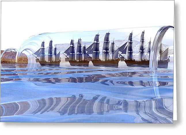 Bottled And Ready To Ship Greeting Card by Betsy Knapp