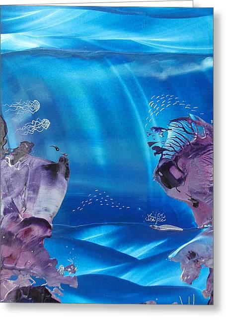 Underwater View Paintings Greeting Cards - Sea Fan Reef Greeting Card by Danita Cole