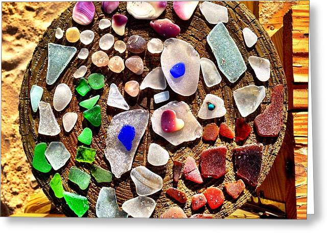 Treasures Glass Art Greeting Cards - Sea Glass on a piling Greeting Card by John Grcic