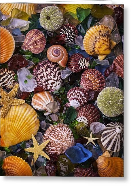 Sea Glass With Sea Shells Greeting Card by Garry Gay