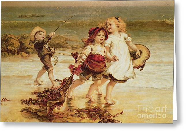Seashores Greeting Cards - Sea Horses Greeting Card by Frederick Morgan